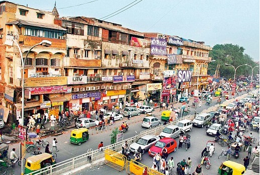A top view of Chandni Chowk, New Delhi.